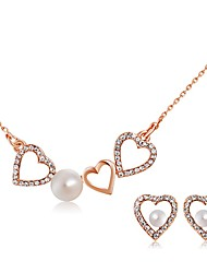 Jewelry Set Imitation Pearl Rhinestone Pearl Imitation Pearl Rhinestone Alloy Classic Heart Gold/White Party Daily Casual 1set1 Necklace