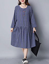 Women's Casual/Daily Cute Loose Dress,Check Ruched Round Neck Above Knee Long Sleeve Cotton Linen Blue Red Spring Mid Rise Inelastic