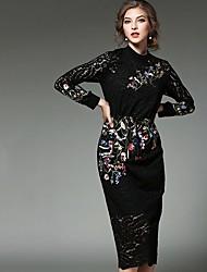 Gaine Robe Femme Décontracté / Quotidien simple,Broderie Col Arrondi Midi Manches Longues Noir Polyester Printemps Taille Normale