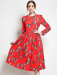 Feminino Chifon balanço Vestido, Férias Para Noite Festa/Coquetel Vintage Moda de Rua Sofisticado Estampado Decote Redondo MédioManga