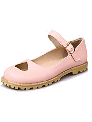Women's Flats Spring Summer Fall Leatherette Casual Flat Heel Buckle Black Beige Blushing Pink