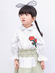 Girl Casual/Daily Holiday School Solid Embroidered Shirt,Cotton Spring Fall Long Sleeve