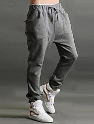 Hommes Ample Sarouel Chino Pantalon,simple Actif Décontracté / Quotidien Plage Vacances Couleur Pleine Taille Normale Cordon Coton