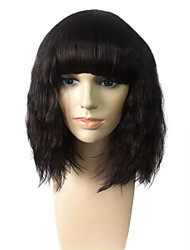 Wig With Neat Bangs Kinky Curly Wig Short Bob Synthetic Fiber Wig Natural Black For Women's Party Cosplay Costume Wig