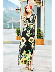 Women's Going out Holiday Boho Loose Dress,Floral V Neck Maxi Long Sleeve Polyester Black Spring Summer Mid Rise Inelastic