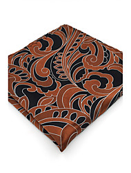 BH21 Men's Pocket Square Brown Paisley 100% Silk Business Casual Jacquard Woven For Men
