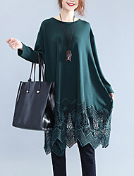 Going out Street chic Loose Dress,Solid Patchwork Cut Out Round Neck Knee-length Long Sleeve Cotton Polyester Black Green Spring Mid Rise
