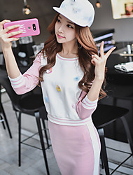 DABUWAWA Women's Casual/Daily Sports Holiday Cute Street chic Active Spring Fall HoodieColor Block Round Neck Long Sleeve Cotton Nylon