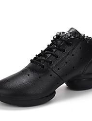 Для женщин-Кожа-Не персонализируемая(Черный Белый Черно-белый) -Танцевальные кроссовки