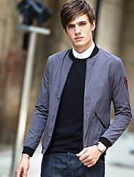Men's Casual/Daily Simple Jackets,Solid Round Neck Long Sleeve Fall Winter Black Purple Spandex Medium