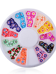 Mixed Color Soft Pottery Mini Flower Nail Art Decoration