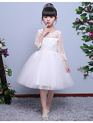 A-line Tea-length Flower Girl Dress - Organza 3/4 Length Sleeve Jewel with Lace