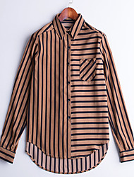 Women's Going out Casual/Daily Work Simple Street chic Sophisticated Spring Shirt,Striped Shirt Collar Long Sleeve Blue Red Brown