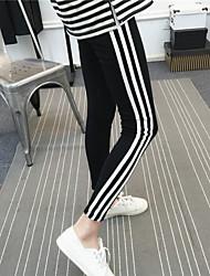 2017 new Korean soft cotton nine feet pants female side vertical striped leggings leisure sports
