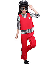Girl Casual/Daily School Solid Striped Print Sets,Cotton Spring Fall Clothing Set