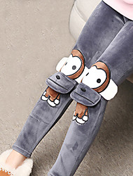 Girls Fashion Han Edition  Thicken  Pure Color Cotton Leggings Cartoon Design Trousers
