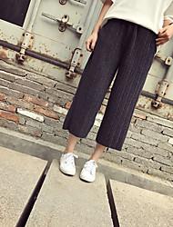 Feminino Reto Perna larga Chinos Calças-Cor Única Happy-Hour Casual Férias Vintage Simples chinoiserie Cintura Alta ElasticidadeAlgodão