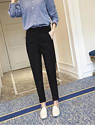 Feminino Reto Chinos Calças-Cor Única Casual Esportivo Férias Simples Activo Cintura Alta Elasticidade Poliéster Inelástico Com Molas