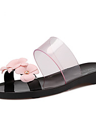 Women's Slippers & Flip-Flops Spring Summer Fall Slingback Leatherette Casual Flat Heel Flower Black Almond