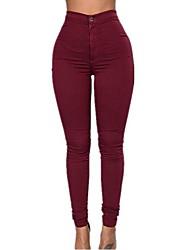 Damen Übergrössen Skinny Jeans Hose-Lässig/Alltäglich Einfach einfarbig Hohe Hüfthöhe Reisverschluss Baumwolle Micro-elastisch Riemengurte