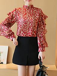 Feminino Blusa Para Noite Formal Trabalho Sensual Moda de Rua Sofisticado Primavera Verão,Estampado Vermelho Preto Outros Colarinho Chinês