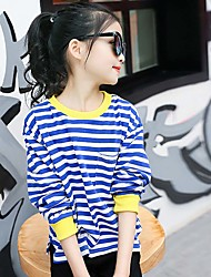 Girl's Han Edition Dashion Leisure Spring/Autumn Round Collar Naval Stripe Render Unlined Upper Garment Of A T-Shirt