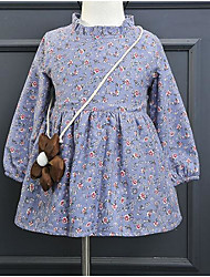 Girl's Casual/Daily School Floral Dress,Rayon Winter Spring Long Sleeve