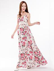 Women's Plus Size Street chic Swing Dress,Print Strap Maxi Sleeveless Cotton Polyester Spring Summer Mid Rise Micro-elastic Medium