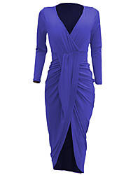 Women's Asymmetrical Party Club Sexy Simple Slim Bodycon DressSolid Ruched Deep V Maxi Long Sleeve Spring Fall Mid Rise
