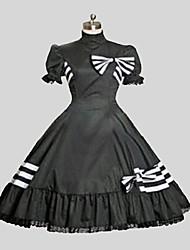 Uma-Peça/Vestidos Lolita Clássica e Tradicional Rococo Cosplay Vestidos Lolita Preto Cor Única Manga Curta Midi Vestido Para Feminino