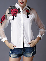 Women's Embroidery Going out Sophisticated Spring Summer Shirt,Embroidered Shirt Collar Long Sleeve White Black Polyester Thin