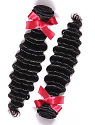 Peruvian Virgin Hair Deep Wave Wefts 2pcs Human Hair 7A Top Grade Natural Color Human Hair Peruvian Hair Weaving