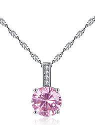 0353 # fashion four claw round blue zircon necklace