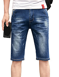 Men's Plus Size Slim Jeans Shorts Pants,Casual/Daily Beach Vintage Simple Street chic Solid Ripped Low Rise Zipper Button Cotton