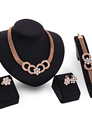 Jewelry Set Rhinestone Alloy Simulated Diamond Gold Wedding Party 1set 1 Pair of Earrings 1 Bracelet Necklaces Rings Wedding Gifts