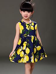 Girl's Beach Print Dress,Cotton Summer All Seasons Sleeveless