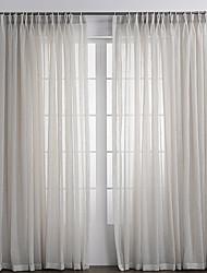 2 шторы Окно Лечение Деревня , Твердый Спальня Полиэфирно-льняная смешанная ткань материал Занавески Оттенки Украшение дома For Окно