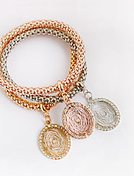 Women's Leather Bracelet Wrap Bracelet Leather Simulated Diamond Friendship Love Rose Gold Jewelry 1pc