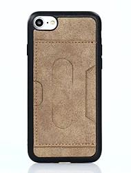 Pour Porte Carte Antichoc Avec Support Coque Coque Arrière Coque Couleur Pleine Flexible Cuir PU pour AppleiPhone 7 Plus iPhone 7 iPhone