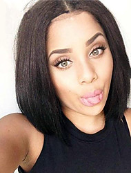 Top Grade Peruvian Virgin Hair Short Full Lace Bob Wigs Straight Hair Natural Black Color Human Virgin Hair Lace Wigs