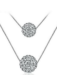 Pendant Necklaces Rhinestone Sterling Silver Round Basic Flower Style Animal Design Fashion Silver Jewelry Daily Casual 1pc