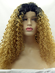 Black Root Blonde Color Color Synthetic Lace Front Wigs Kinky Curly Hair Heat Resistant Synthetic Fiber Hair Lace Wig