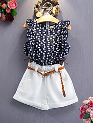 Girl Casual/Daily Floral Sets,Rayon Summer Sleeveless Clothing Set