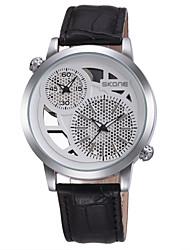 Men's Fashion Watch Quartz Leather Band Black Brown Brand