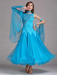 Baile de Salón Vestidos Mujer Actuación Licra Encaje Tul 1 Pieza Vestido