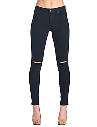 Women's Cut Out Skinny Jeans PantsGoing out Holiday Simple Street chic Elastic Solid Ripped High Rise Slim Zipper Micro-elastic Spring Fall