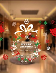 1Pcs 70Cm*120Cm Christmas Wreath Wall Stickers Can  Paste In Store Supermarket Store Window