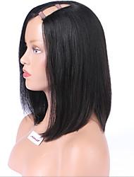 baratas perucas parte bob u curtos para preto parte lateral mulheres perucas remy brasileiro virgem do cabelo bob peruca 130density cor