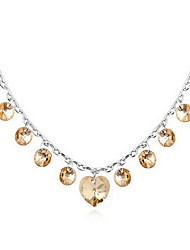 Necklace Crystal Pendant Necklaces Jewelry Daily Casual Single Strand Basic Design Alloy 1pc Gift Gold White