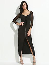 Women's Going out / Party/Cocktail / Club Sexy Bodycon DressSolid / Print U Neck Maxi Long Sleeve Black